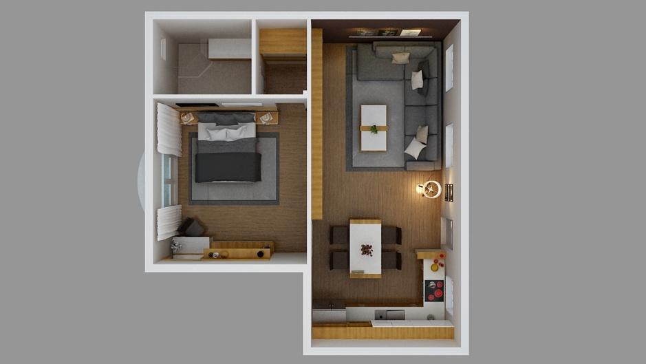 Loại căn hộ 1 phòng ngủ dành cho các đôi vợ chồng trẻ với đầy đủ tiện nghi