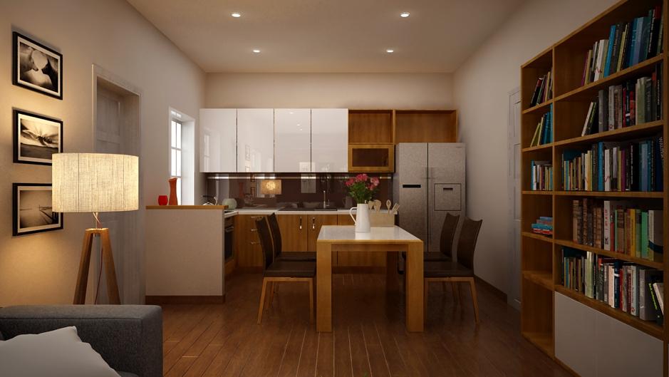 Bếp và phòng ăn cực kyd đơn giản nhưng đầy đủ công năng sử dụng