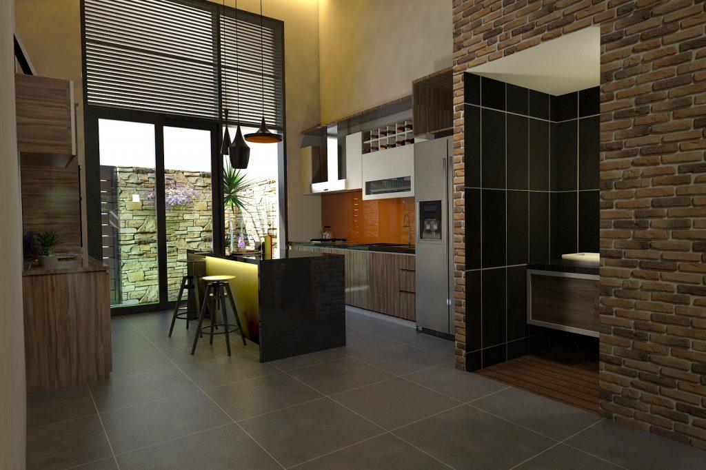 Không gian bếp hiện đại với không gian nhìn ra sau sân vườn