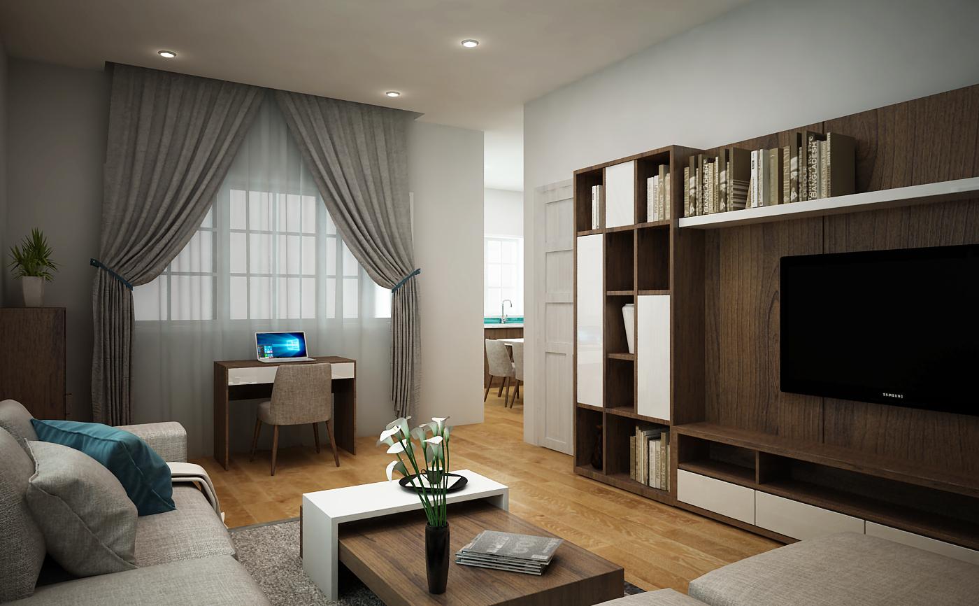 Tủ kệ Tivi phòng khách do Thước Tầm thiết kế