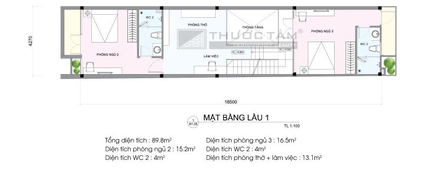 Thiết kế thi công nhà phố Hóc Môn - Kiến Trúc Thước Tầm