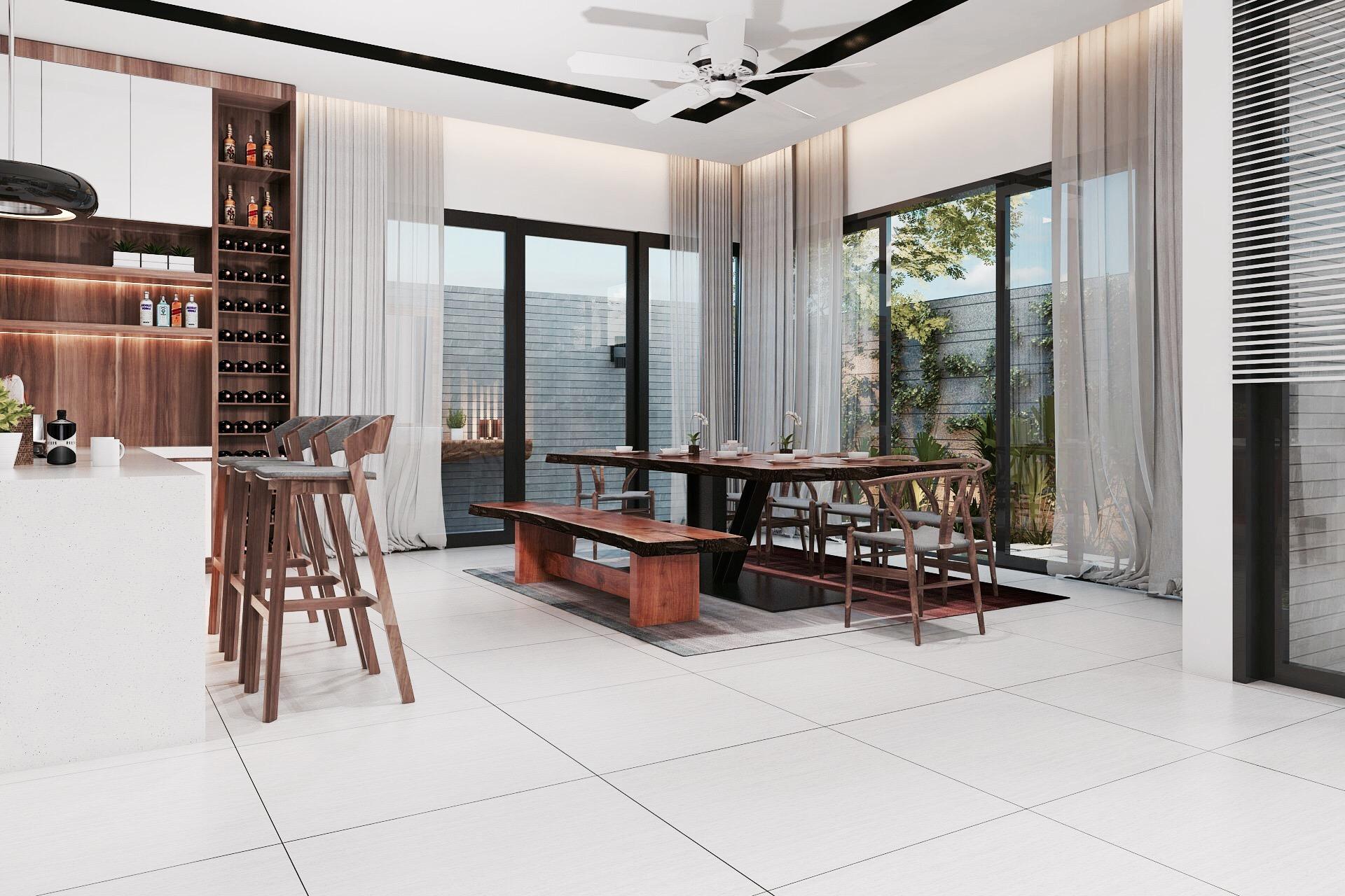 Phòng Ăn Nhìn ra vườn của Biệt Thự