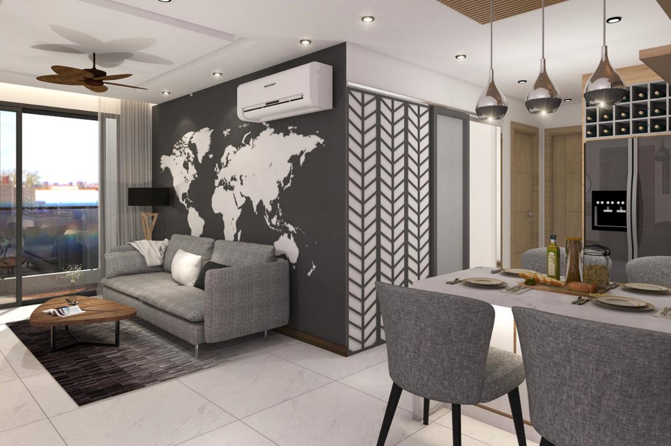 Phối cảnh phòng khách chung cư new city
