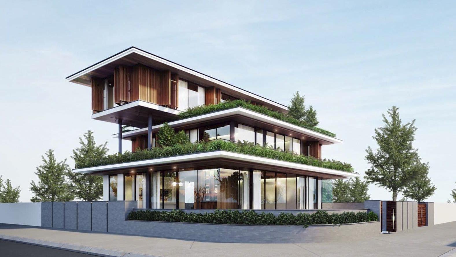 Thiết kế biệt thự phong cách hiện đại có cây xanh