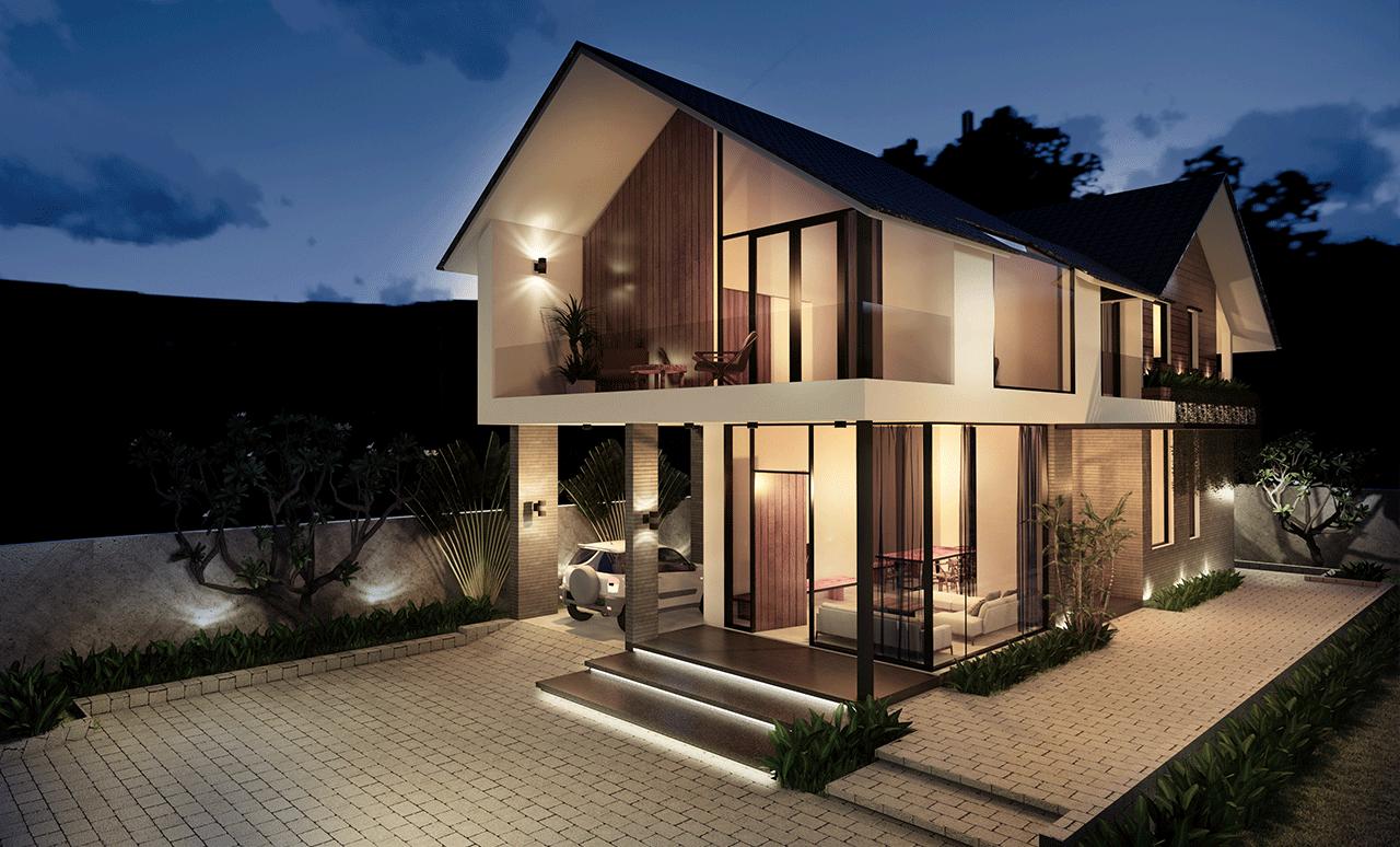 Thiết kế biệt thự phong cách hiện đại, ngập tràn ánh sáng về đêm
