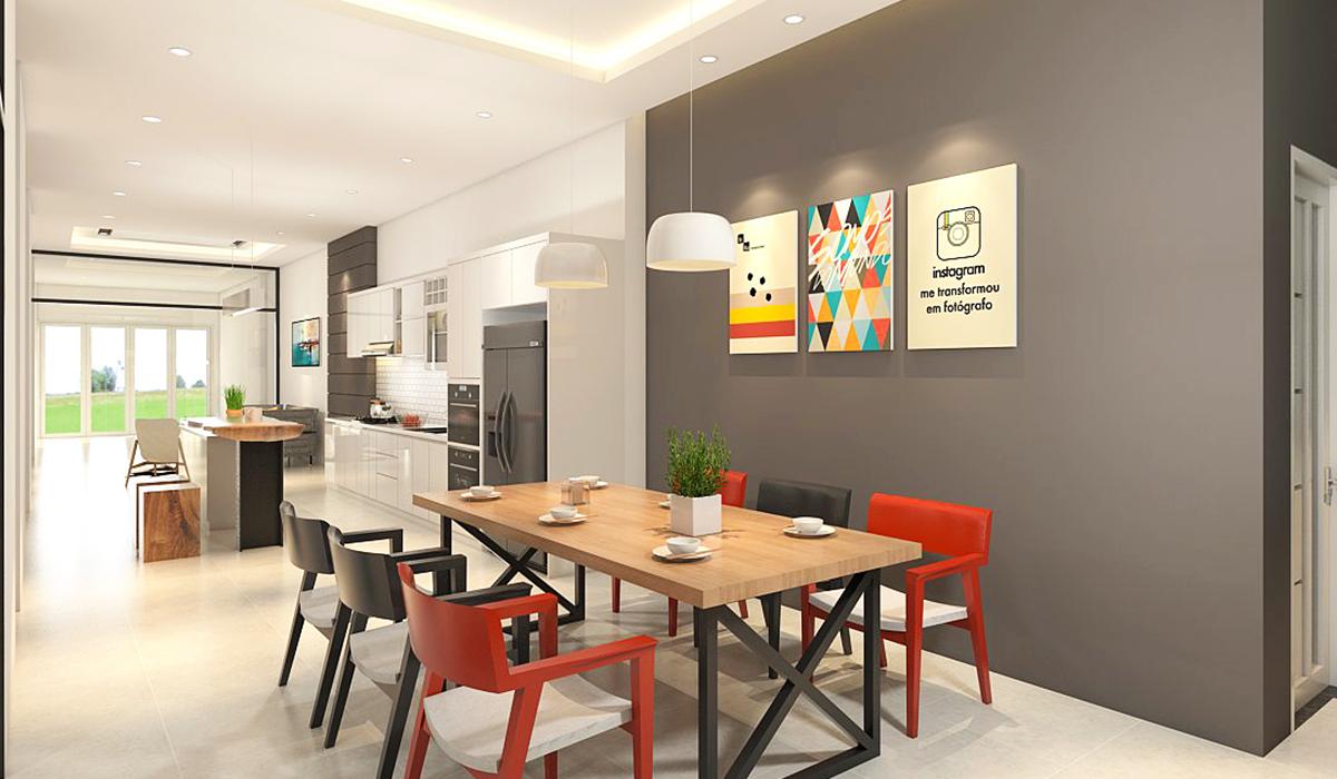 Mẫu phòng bếp nhà phố hiện đại, khu vực bàn ăn là điểm nhấn