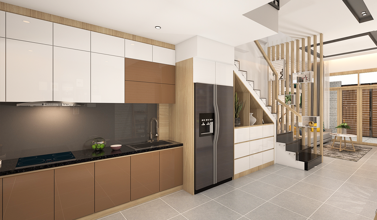 Mẫu phòng bếp nhà phố hiện đại 2020