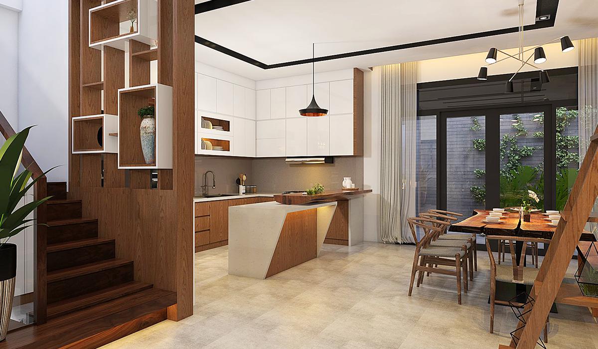 Mẫu phòng bếp nhà phố hiện đại sử dụng chất liệu gỗ