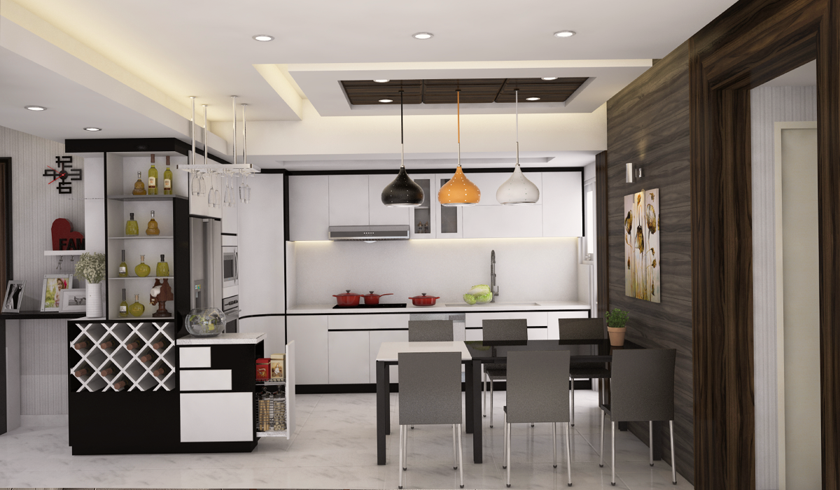 Mẫu phòng bếp nhà phố hiện đại gam màu trung tính