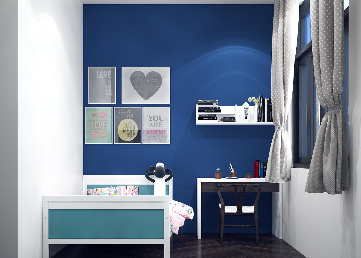 Mẫu thiết kế phòng ngủ trẻ em màu xanh mạnh mẽ