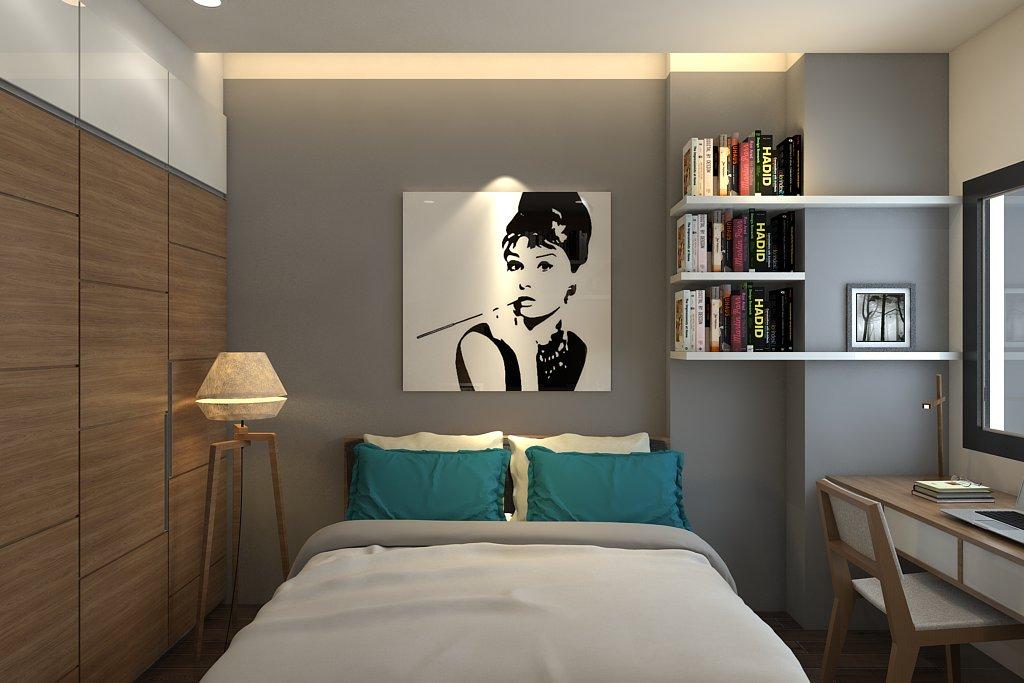 Nội thất phòng ngủ hiện đại với tranh nghệ thuật