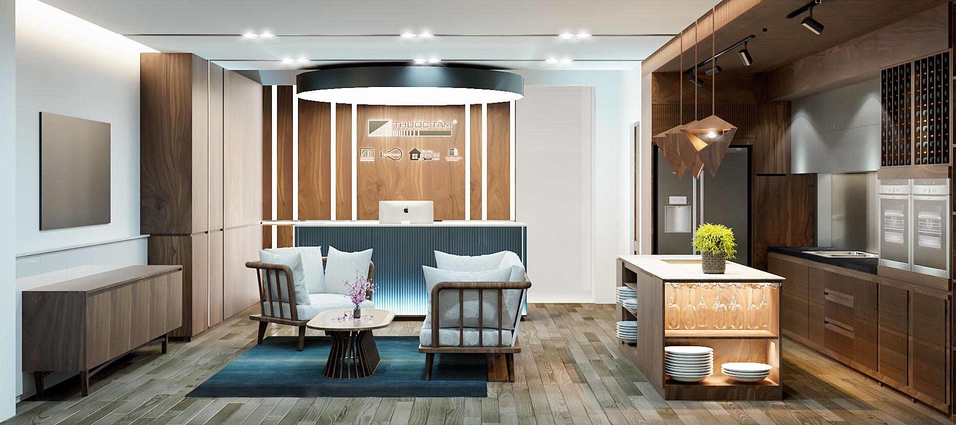 Nội thất showroom chi nhánh Nha Trang được thiết kế theo phong cách New Mid-Century độc đáo giao thoa giữa cái cũ và mới, sang trọng