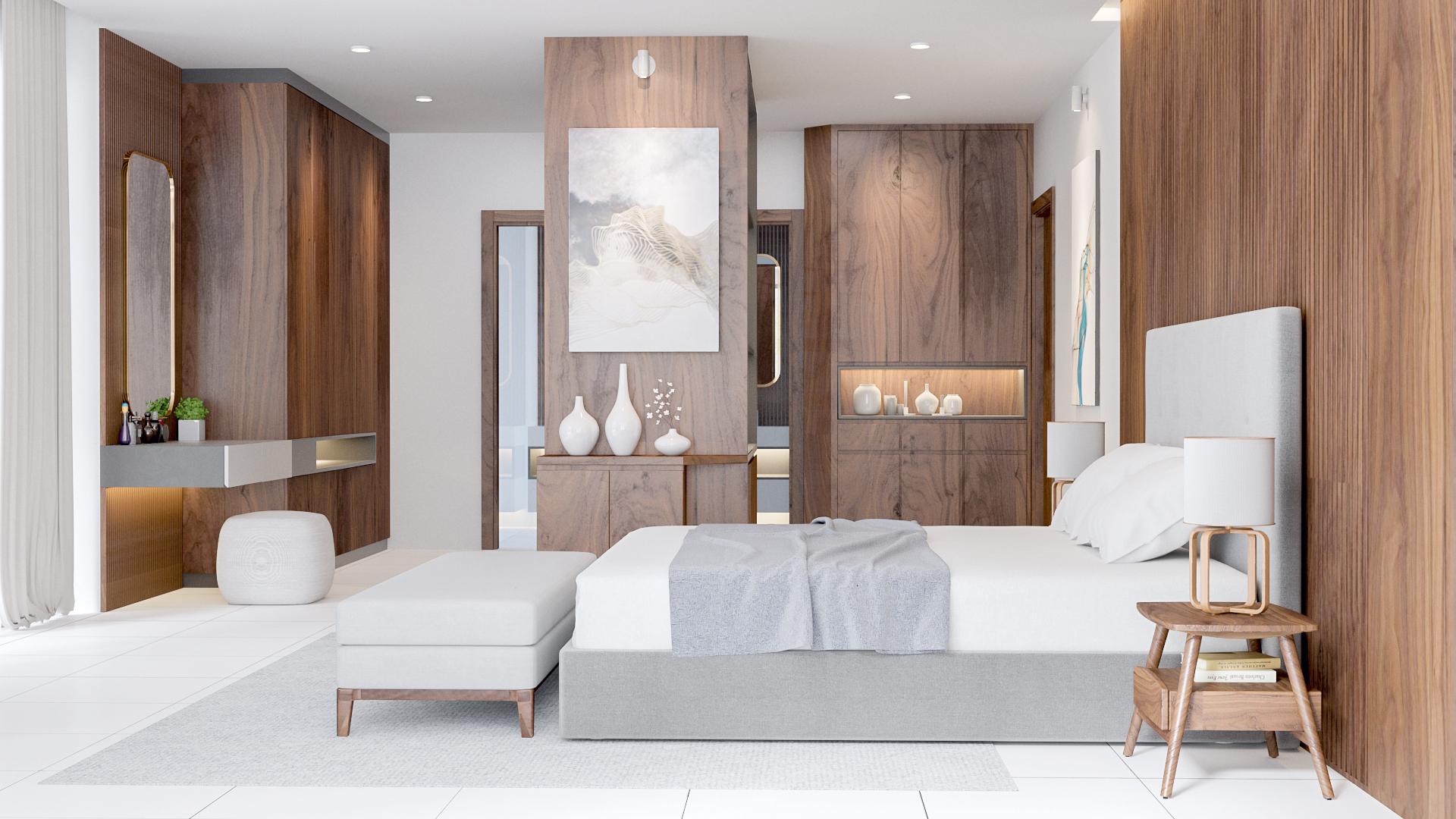 Thiết kế phòng ngủ Biệt thự đẹp, sang trọng, sử dụng vật liệu gỗ Óc chó