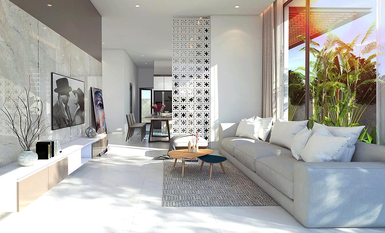 Màu trắng kết hợp với ánh sáng khiến không gian như rộng mở hơn ( Công trình Biêt thự Phú Quốc do Thước Tầm Group thiết kế và thi công )