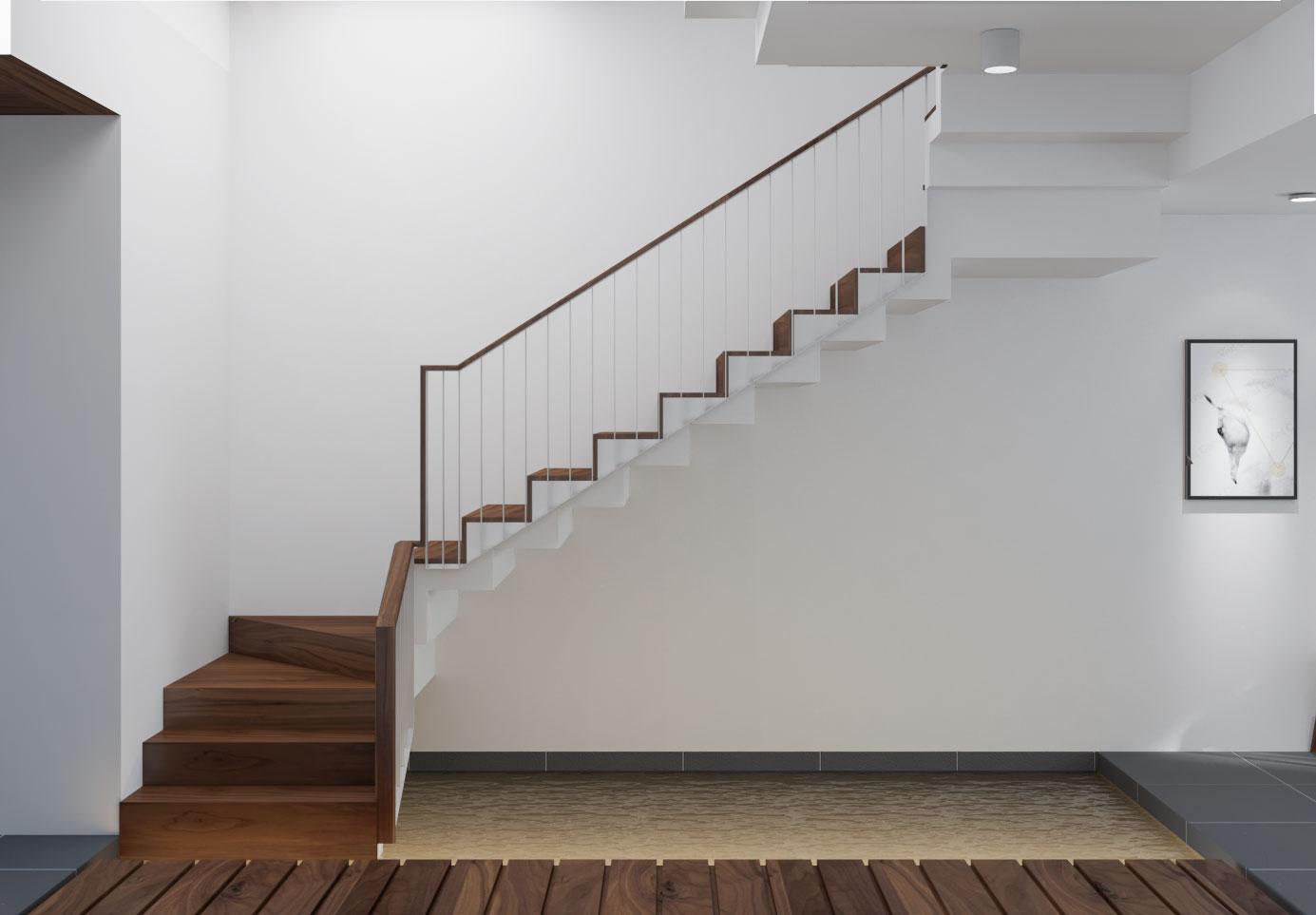 Mẫu lan can cầu thang đẹp kết hợp giữa tay nắm gỗ và kim loại