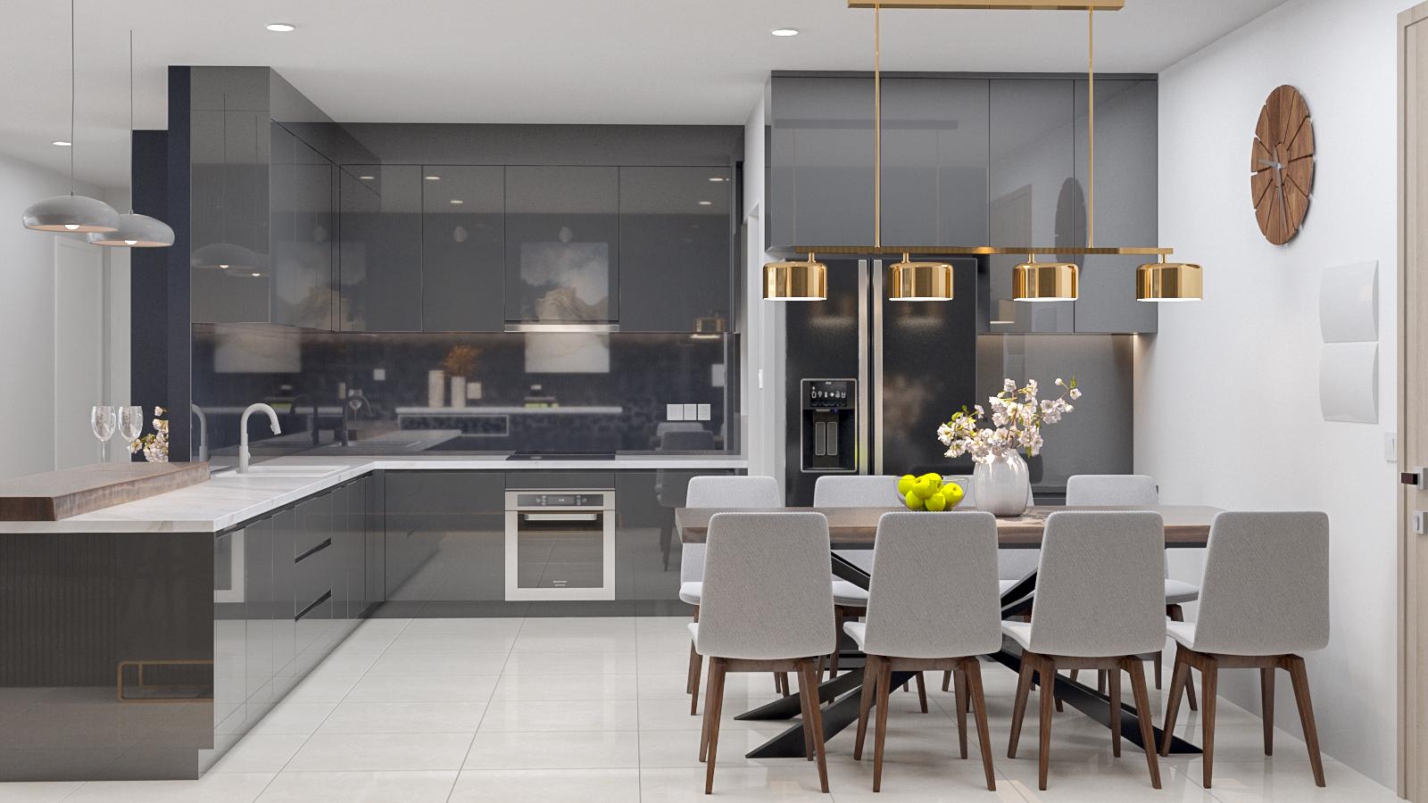 Trần sáng mở rộng không gian, giúp các mảng tường tối màu trở nên bớt ngột ngạt ( Công trình căn hộ cao cấp Estella do Thước Tầm Group thiết kế và thi công)