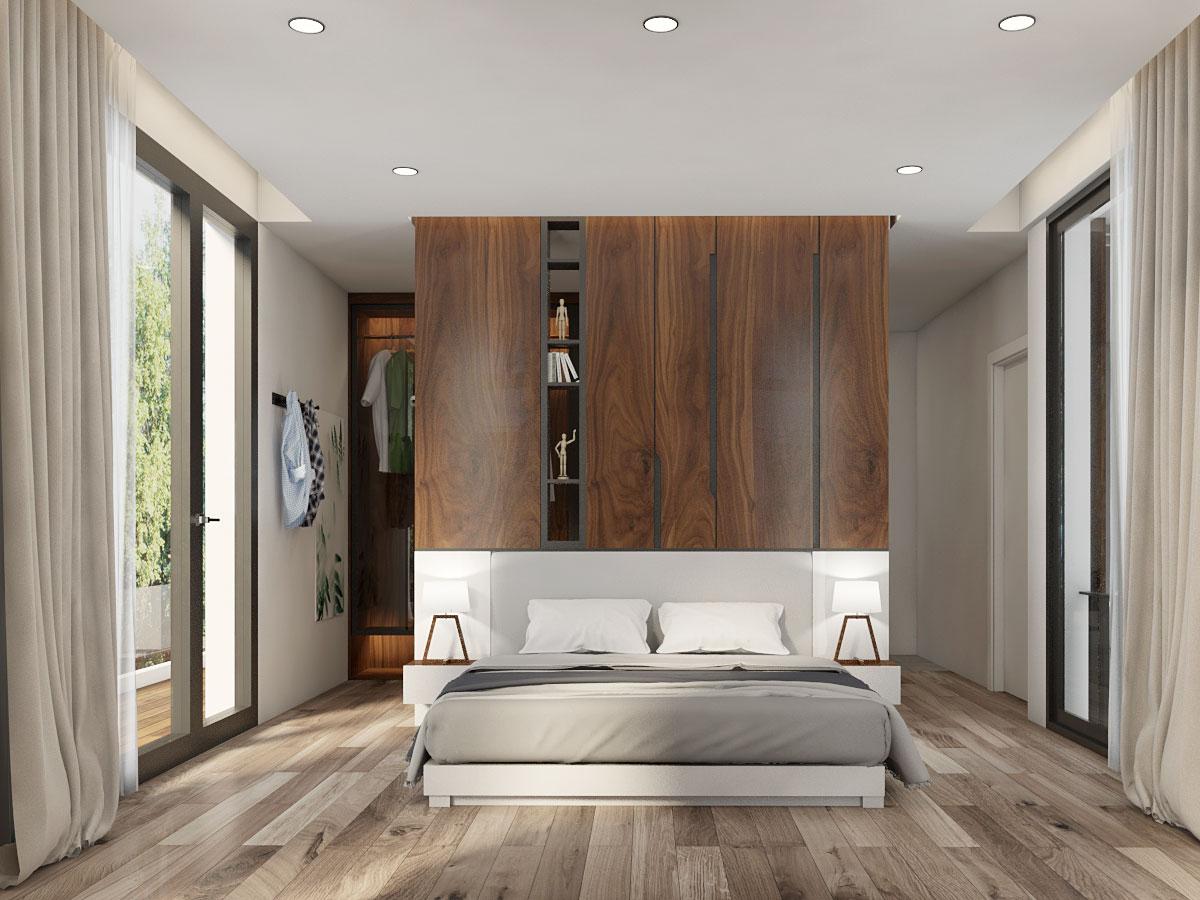 Công trình Biệt thự Quận Bình Thạnh do Thước Tầm Group thiết kế với bức tường nâu gỗ phía cuối tạo cảm giác không gian ấm cúng hơn
