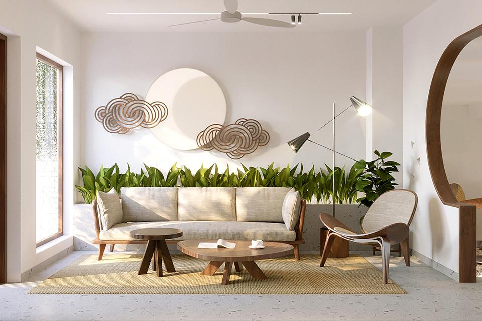 Không gian phòng khách tối giản của nhà phố xanh mát