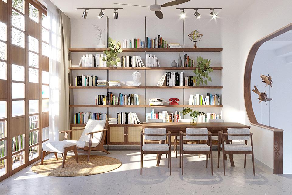 Phòng đọc sách của nhà phố xanh mát