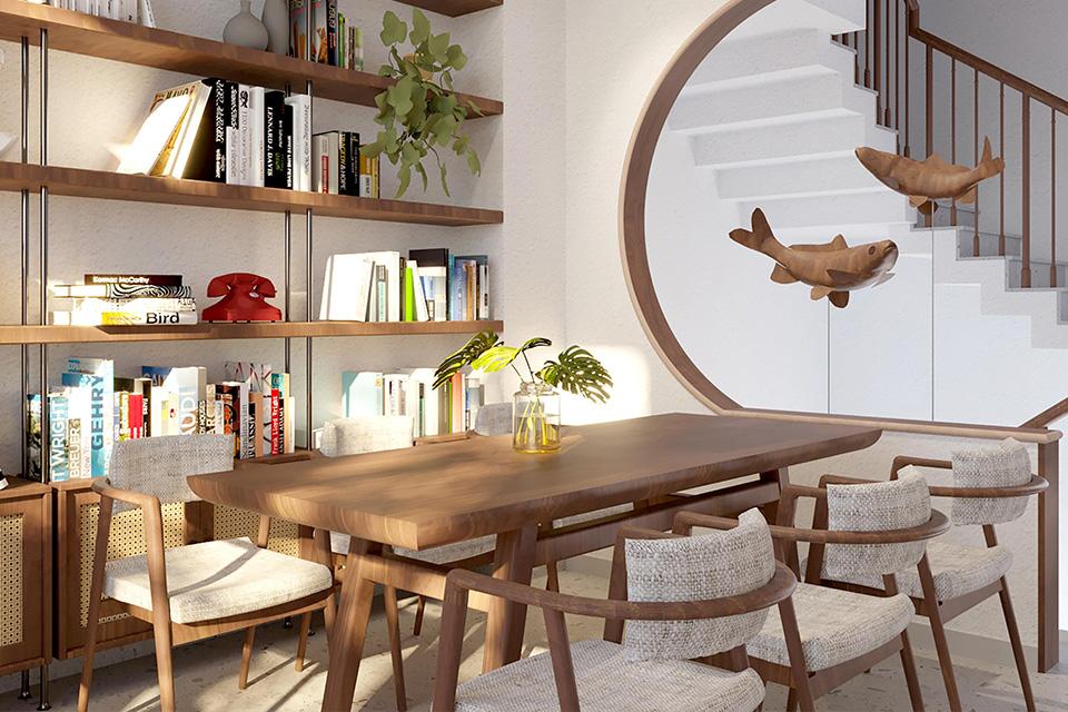 Trang trí phòng đọc sách cho không gian nhà phố xanh mát