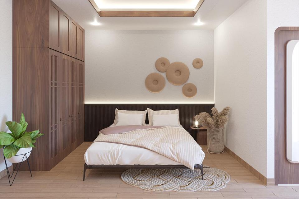 Các phòng ngủ nhà phố xanh mát sử dụng tông màu gỗ ấm áp làm chủ đạo