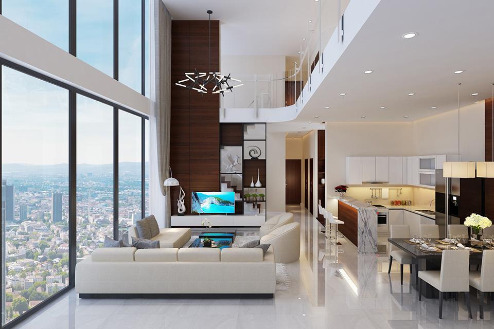 Bố cục nội thất căn hộ Penthouse khá đơn giản từ đường nét, họa tiết cho đến các hình khối