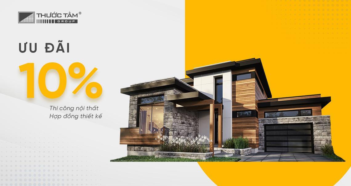 ưu đãi 10% thi công nội thất, hợp đồng thiết kế