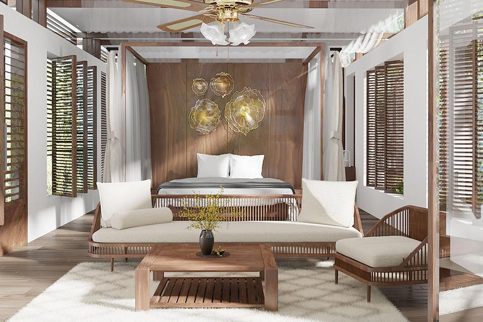 Tư vấn thiết kế resort sử dụng nội thất gỗ