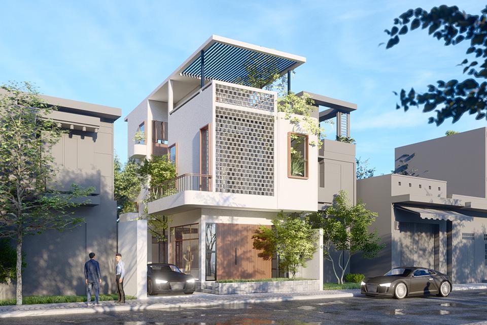 Thiết kế kiến trúc biệt thự hiện đại phá cách trong tạo hình kiến trúc