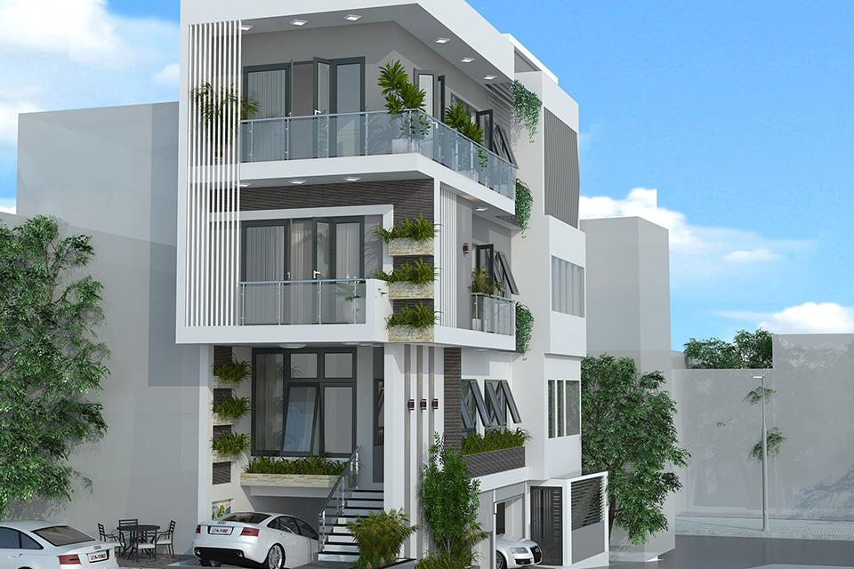Thiết kế nhà ở kết hợp văn phòng cho thuê lệch tầng