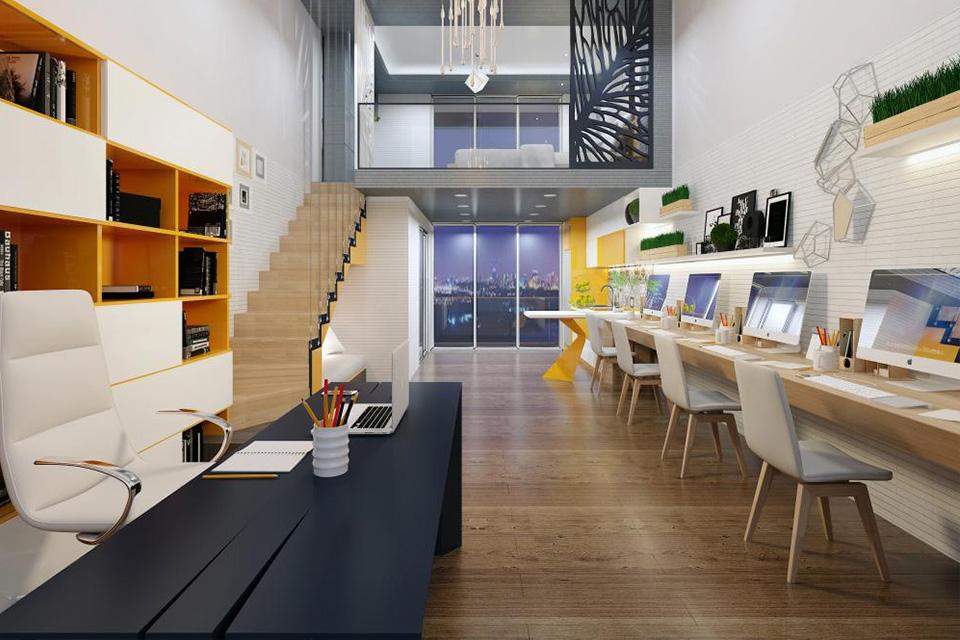 Thiết kế nhà ở kết hợp văn phòng cho thuê với gác lửng