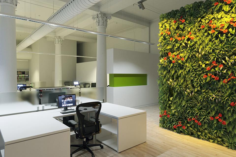 Dựng lên một bức tường cây xanh trong thiết kế văn phòng xanh hồ chí minh