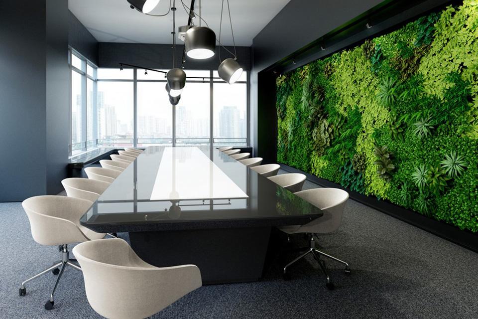 Thiết kế văn phòng xanh đẹp với bức tường xanh mát