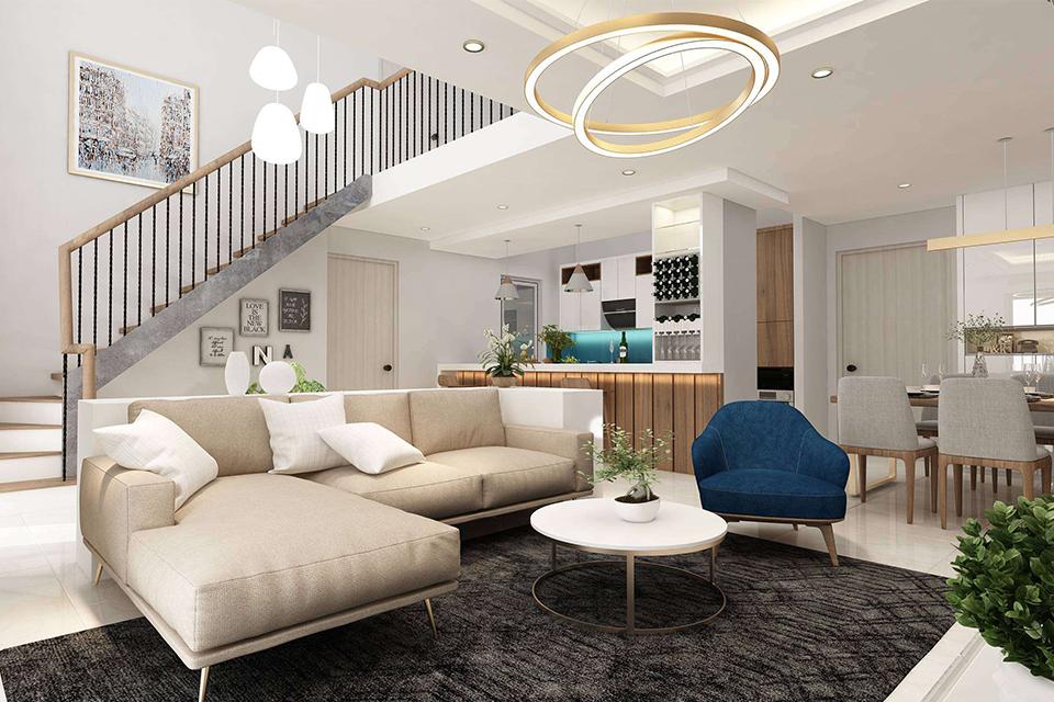 Thiết kế nội thất căn hộ Duplex thông tầng, cầu thang bên trong