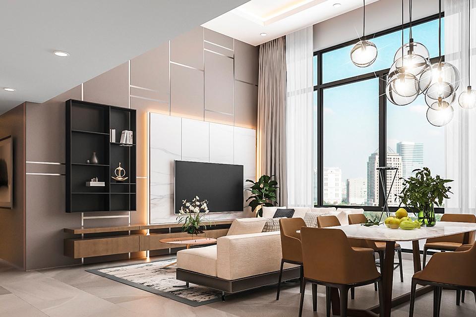 Phong cách hiện đại, sang trọng của thiết kế nội thất căn hộ Duplex
