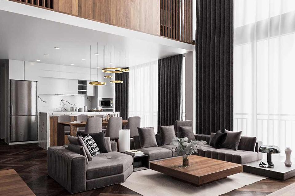 Thiết kế nội thất căn hộ Duplex từ gỗ óc chó