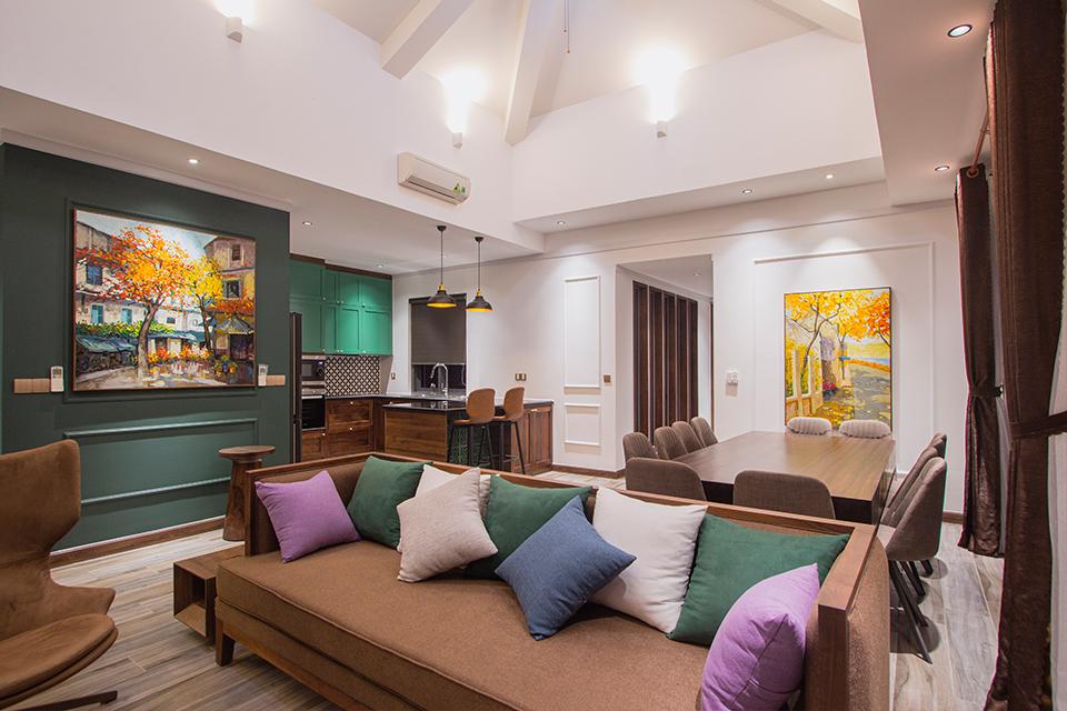 Nội thất Villa Hồ Tràm phòng khách liền kề phòng bếp