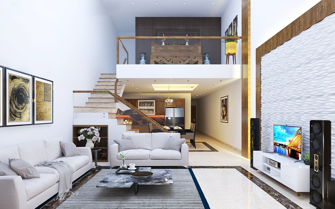 Thiết kế nhà phố có tầng lửng vừa tiện nghi, vừa tiết kiệm diện tích