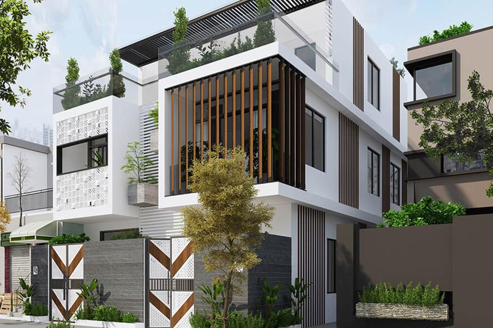 Nên sử dụng hệ lam gỗ cùng gạch thông gió để tăng thêm tính thẩm mỹ cho nhà phố song lập