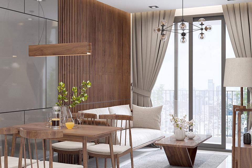 Thiết kế phòng khách chung cư nhỏ liền kề phòng bếp