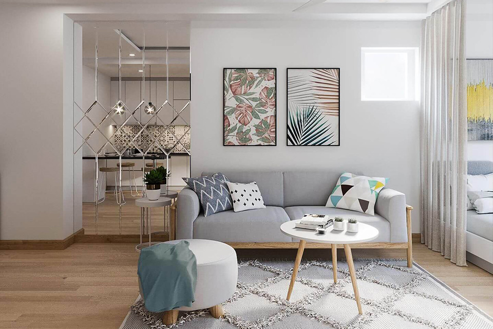 Sử dụng kính ốp tường trong thiết kế căn hộ nhỏ đẹp