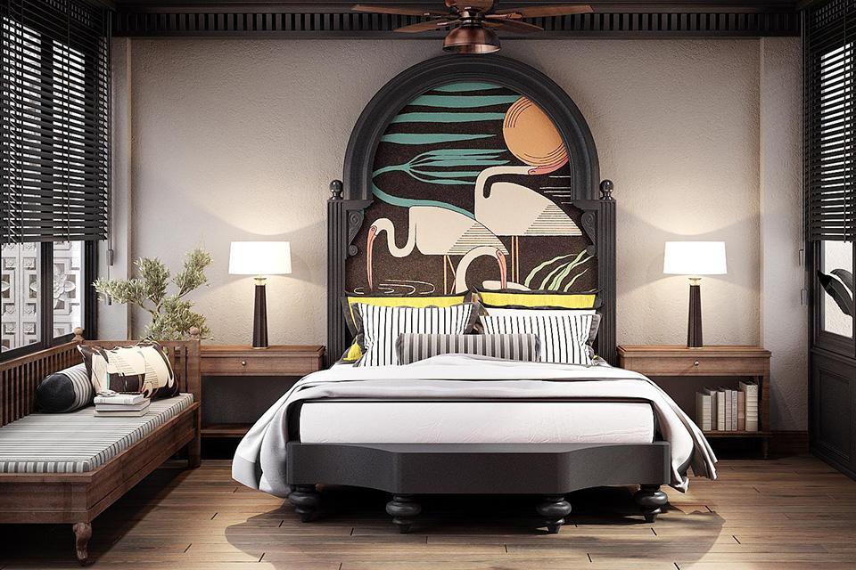 Không gian nội thất biệt thự đẹp, độc đáo với điểm nhấn là những bức tranh họa tiết Á Đông