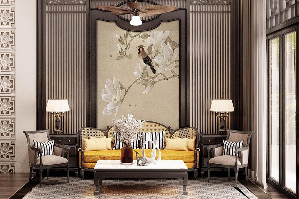 Nội thất phòng khách biệt thự Indochine phù hợp với quan điểm mỹ thuật thời hiện đại