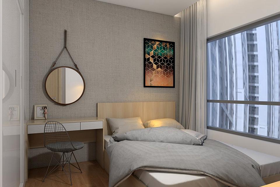 Phòng ngủ thiết kế căn hộ chung cư 50m2 thường có diện tích nhỏ gọn