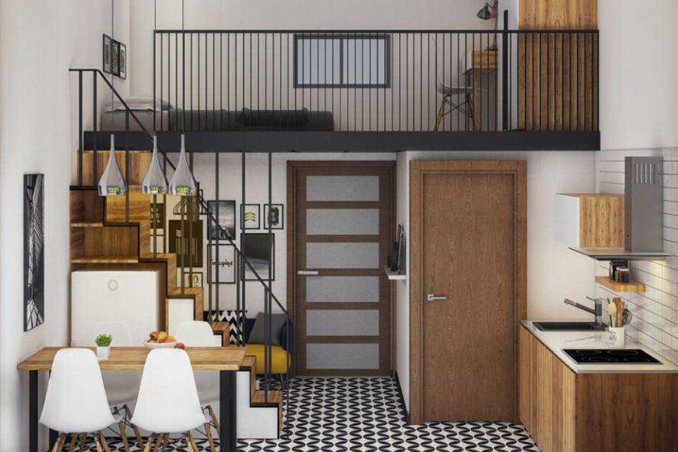 Nội thất chung cư nhỏ 50m2 có thêm gác lửng tiện nghi