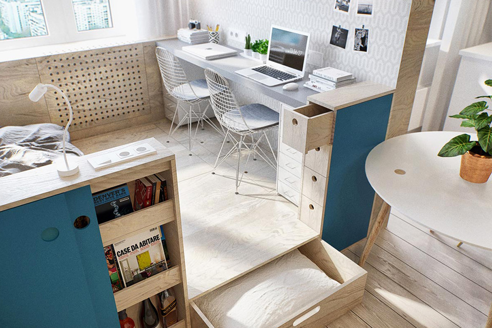 Thiết kế căn hộ nhỏ hơn 50m2 nhưng vẫn đầy đủ tiện nghi